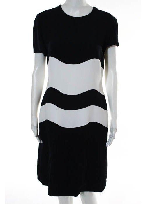 Genny Dark Navy & White Color Block Dress, c.1980's - 2