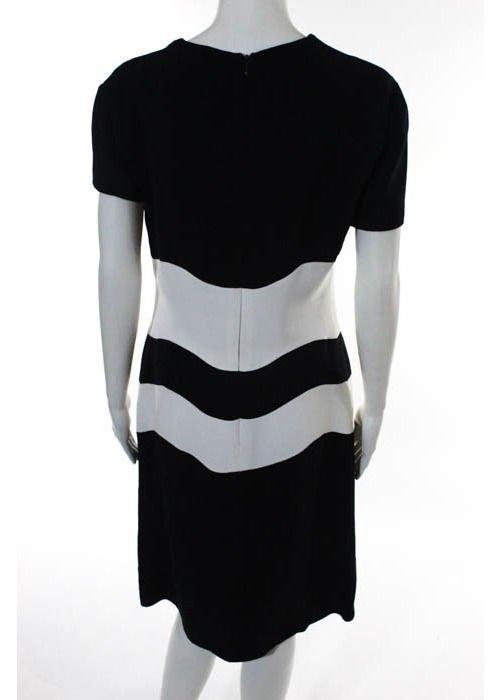 Genny Dark Navy & White Color Block Dress, c.1980's - 4