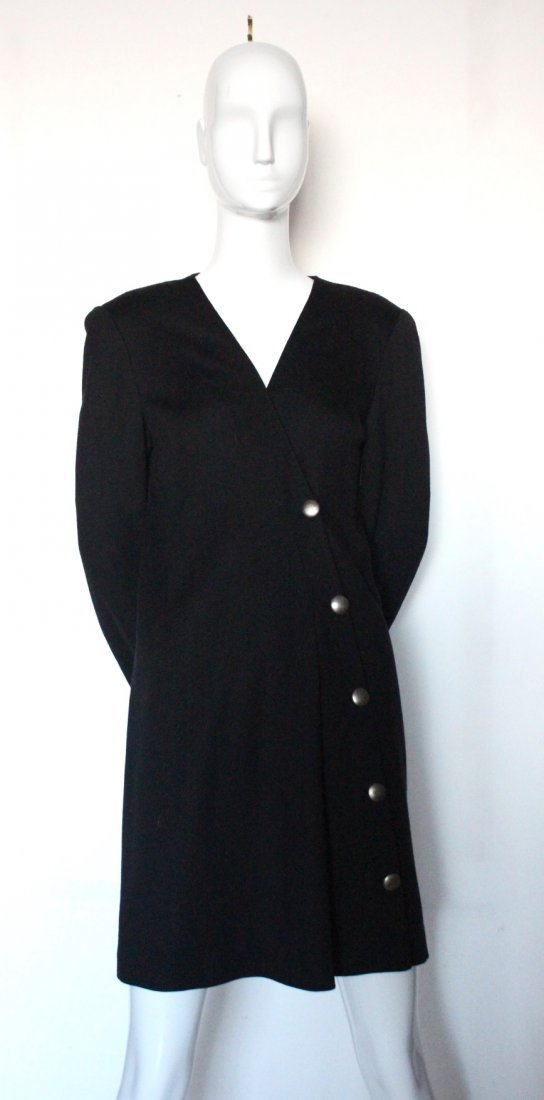 Pauline Trigere Couture Wool Jersey Dress, c.1980's