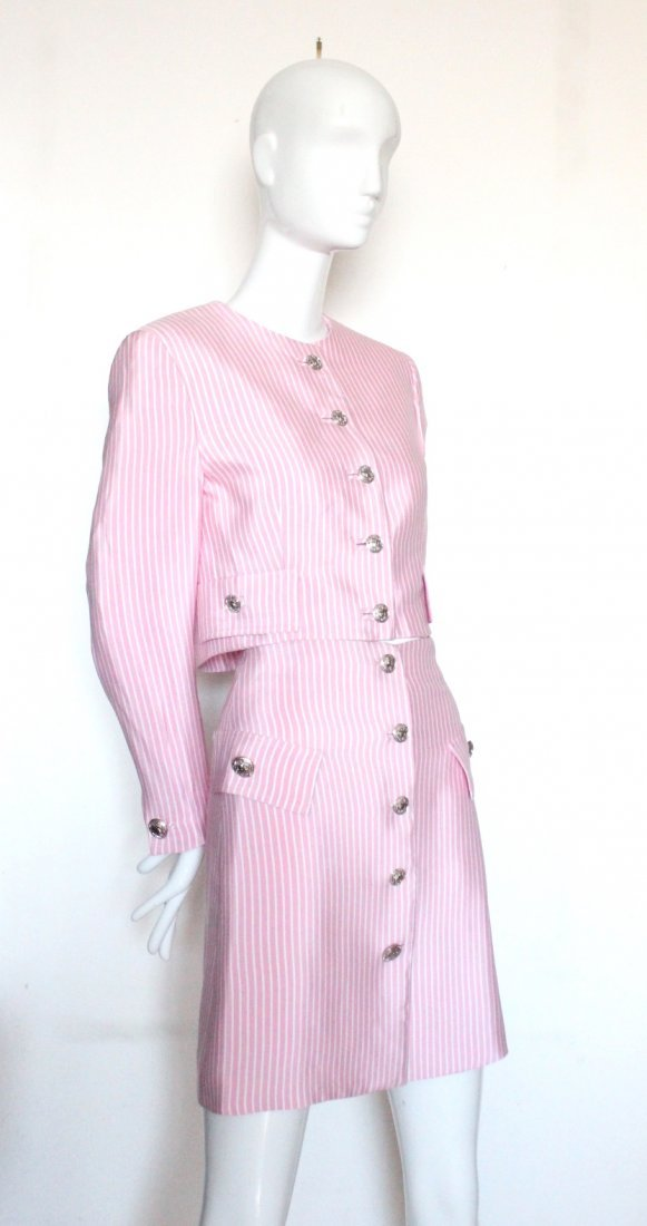 Gianni Versace Couture Striped Pink Silk Suit, S/S 1995