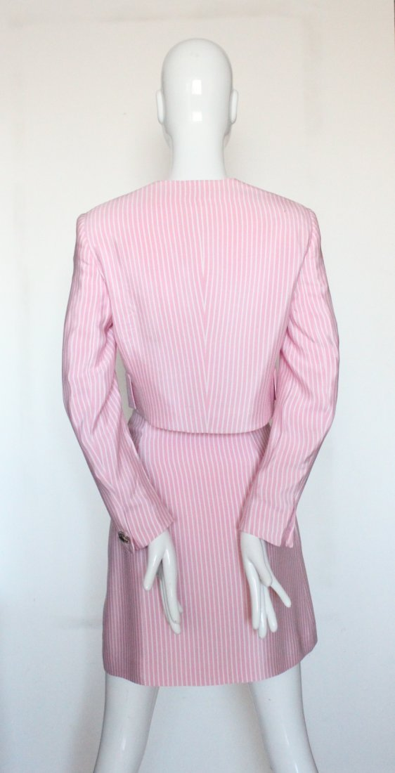 Gianni Versace Couture Striped Pink Silk Suit, S/S 1995 - 2