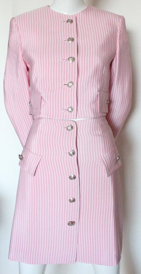 Gianni Versace Couture Striped Pink Silk Suit, S/S 1995 - 3