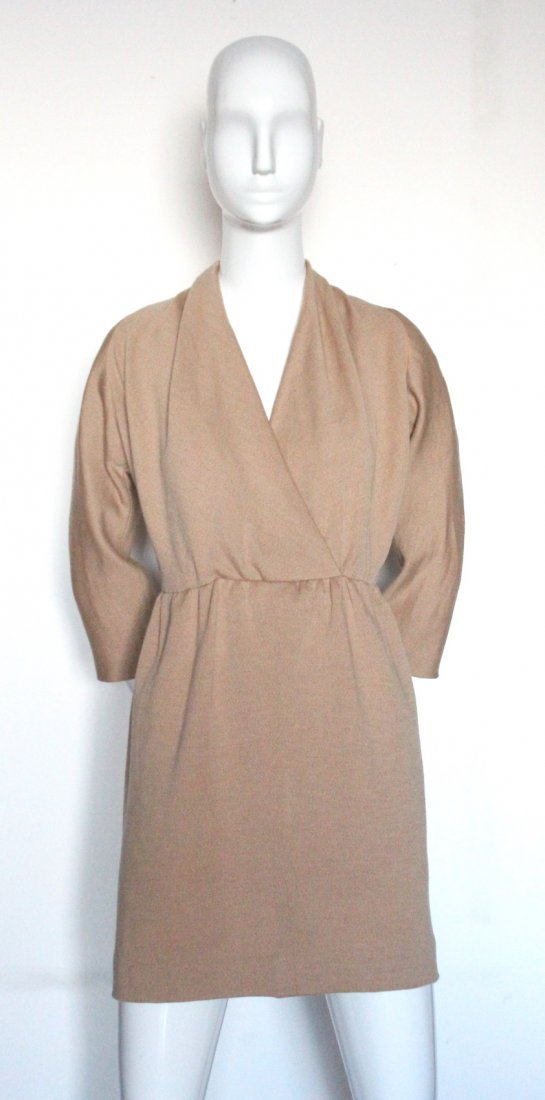 Givenchy Couture Camel Wool Knit Dress, c.1990's. - 2
