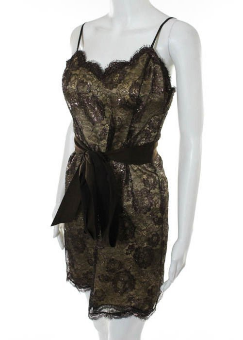 Geoffrey Beene Brown Lace Dress, c.1990's