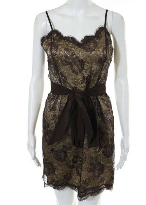 Geoffrey Beene Brown Lace Dress, c.1990's - 2