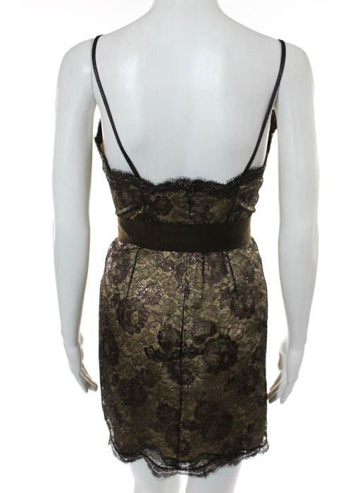 Geoffrey Beene Brown Lace Dress, c.1990's - 3