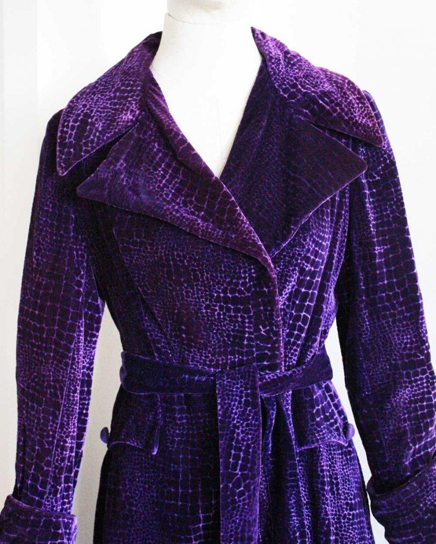 Beene Bag Purple Velvet Long Coat, c.1970's