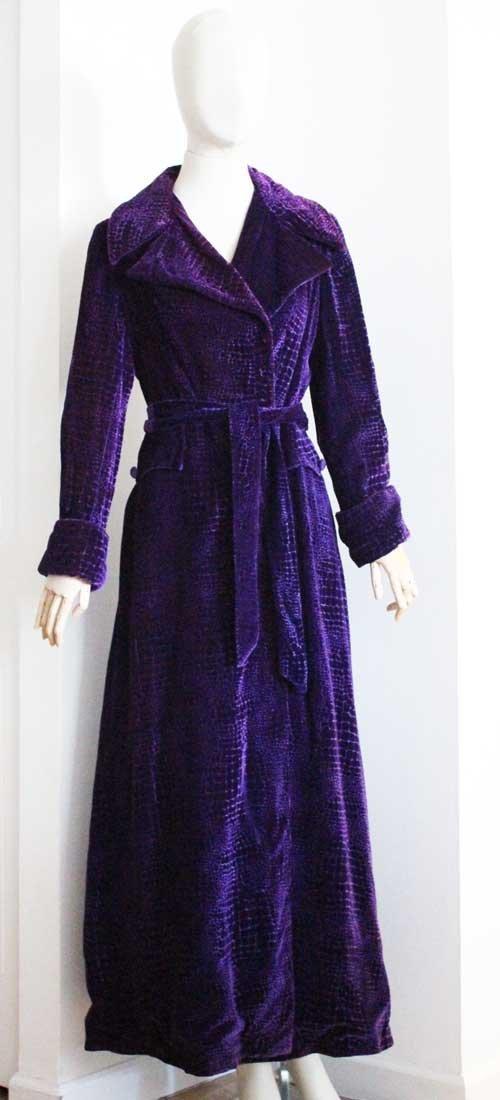 Beene Bag Purple Velvet Long Coat, c.1970's - 2