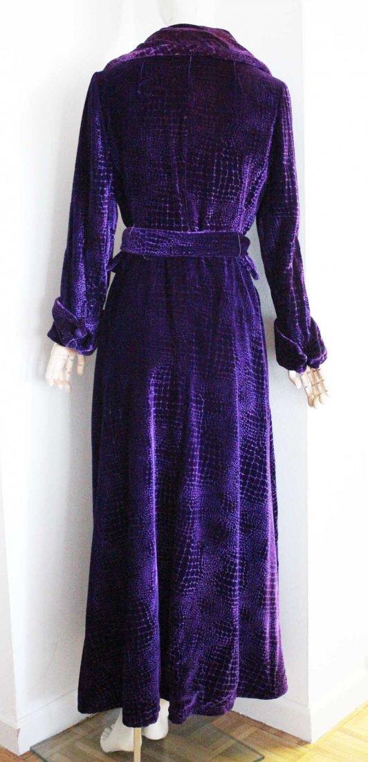 Beene Bag Purple Velvet Long Coat, c.1970's - 3