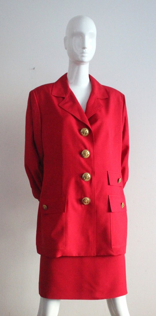 Christian Dior by Ferre Red Silk Suit, c.1990's