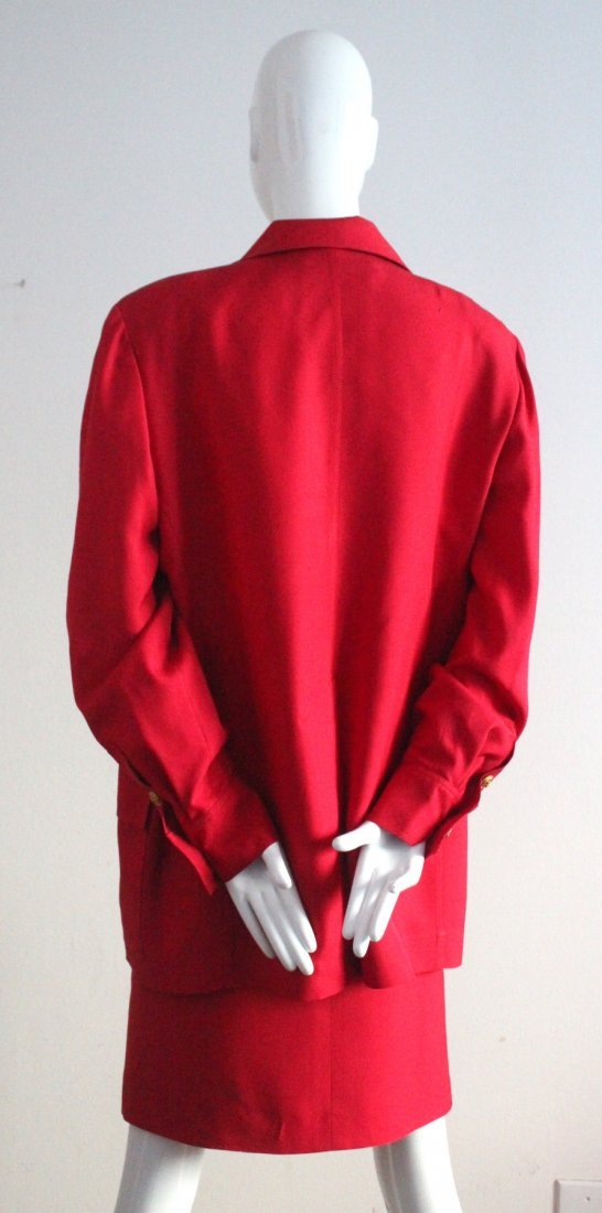 Christian Dior by Ferre Red Silk Suit, c.1990's - 3