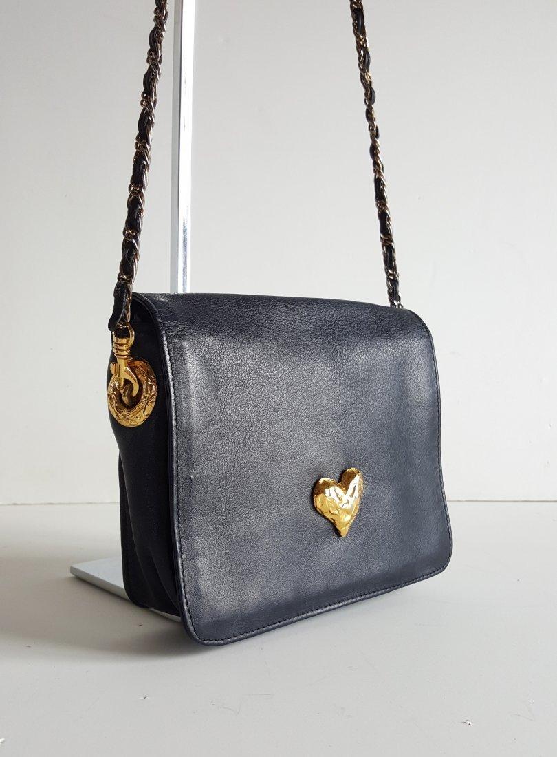 Edouard Rambaud Leather Bag with Gold Hardware,1980's - 2