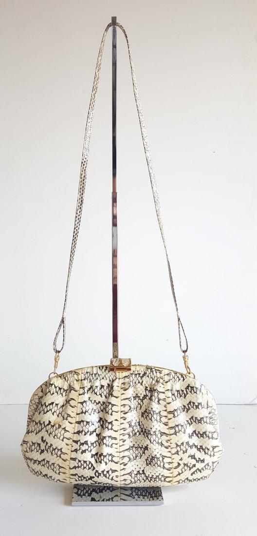 Adriana Ferrari Milano Snake Skin Frame Bag, c.1980's - 2