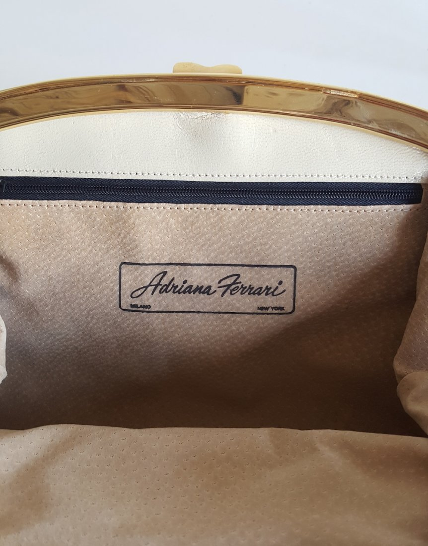 Adriana Ferrari Milano Snake Skin Frame Bag, c.1980's - 3