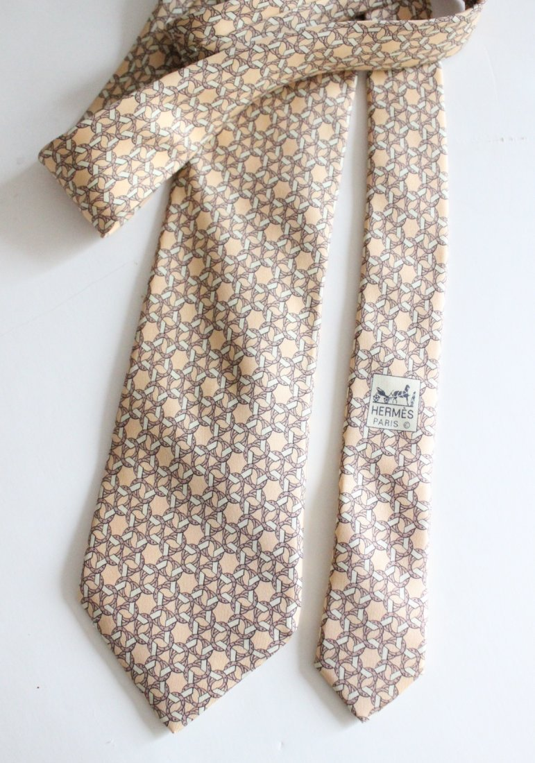 Hermes Paris Yellow Silk Men's Tie
