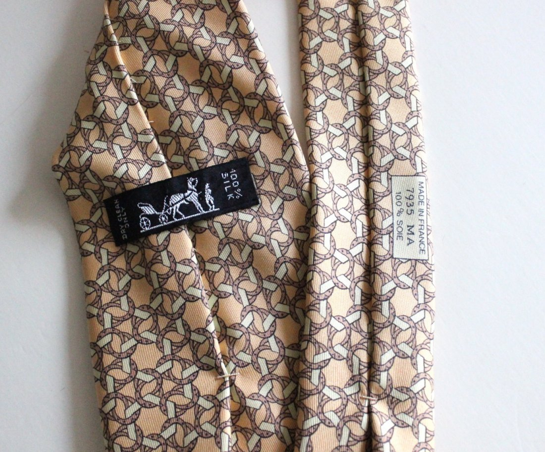 Hermes Paris Yellow Silk Men's Tie - 2