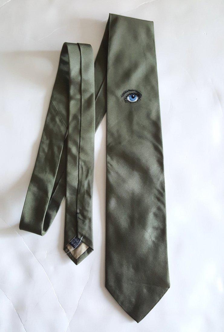Piero Fornasetti 'Occhi' Green Silk Tie, c.1980's