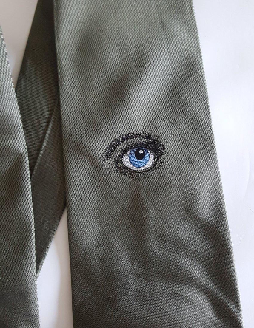 Piero Fornasetti 'Occhi' Green Silk Tie, c.1980's - 2