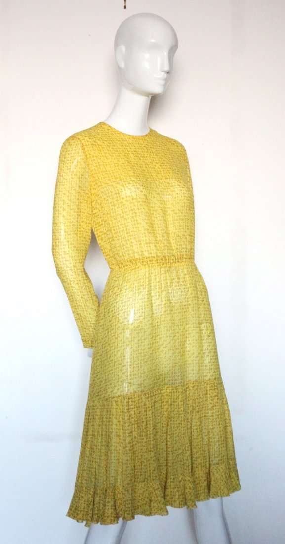 Christian Dior Haute Couture Yellow Silk Dress F/W 1975