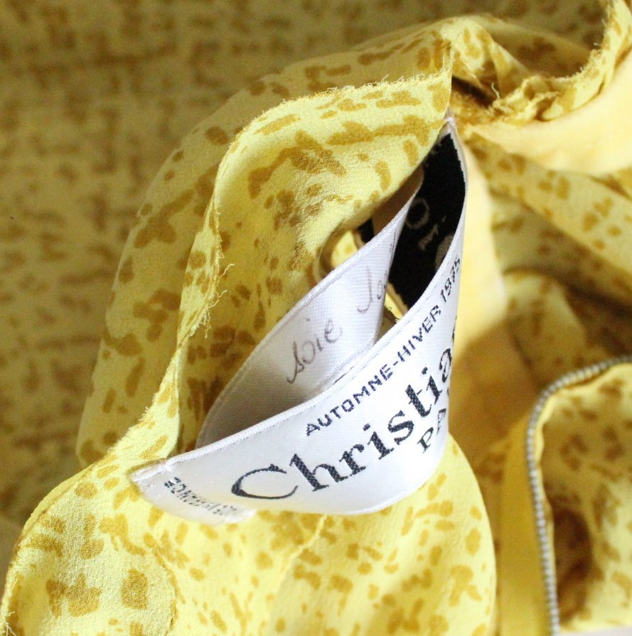 Christian Dior Haute Couture Yellow Silk Dress F/W 1975 - 4