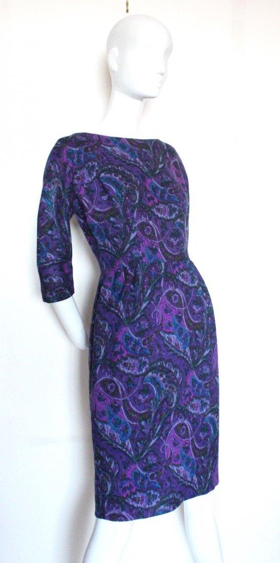 Elizabeth Arden Purple Paisley Print Wool Dress c.1960s