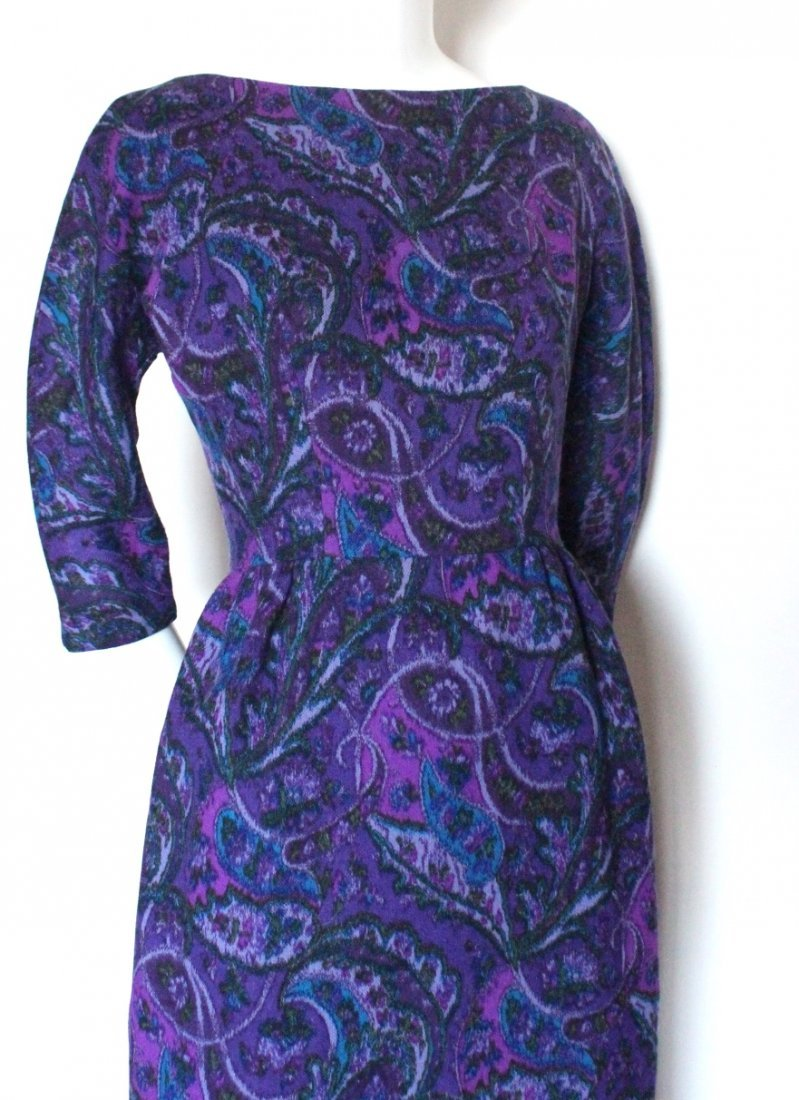 Elizabeth Arden Purple Paisley Print Wool Dress c.1960s - 2