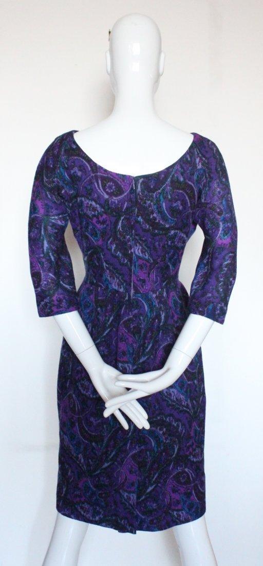 Elizabeth Arden Purple Paisley Print Wool Dress c.1960s - 3