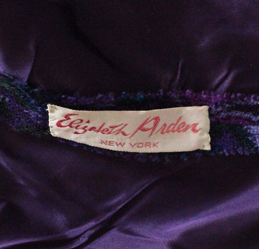 Elizabeth Arden Purple Paisley Print Wool Dress c.1960s - 4