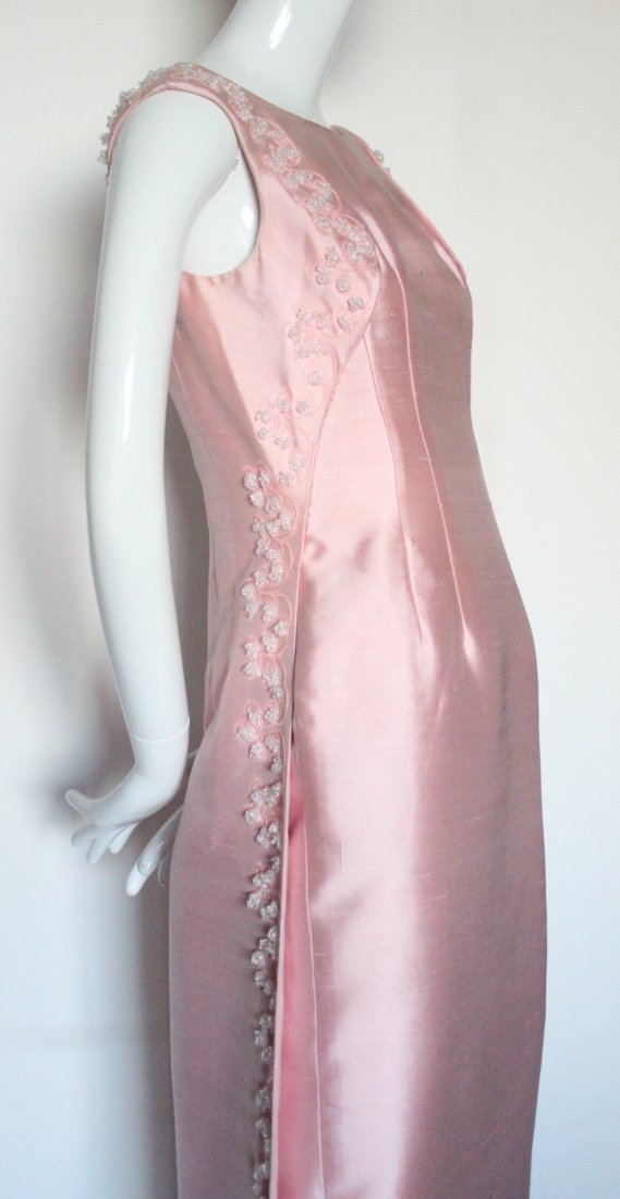 Pierre Balmain Beaded Pink Silk Evening Dress, S/S 1965