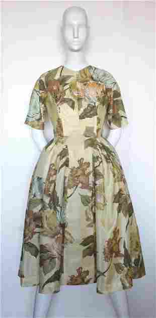 Schiaparelli Yellow Floral Printed Fabric Dress, 1950's
