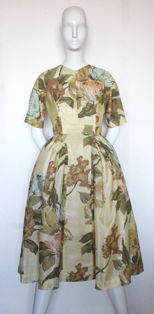 Schiaparelli Yellow Floral Printed Fabric Dress, 1950's