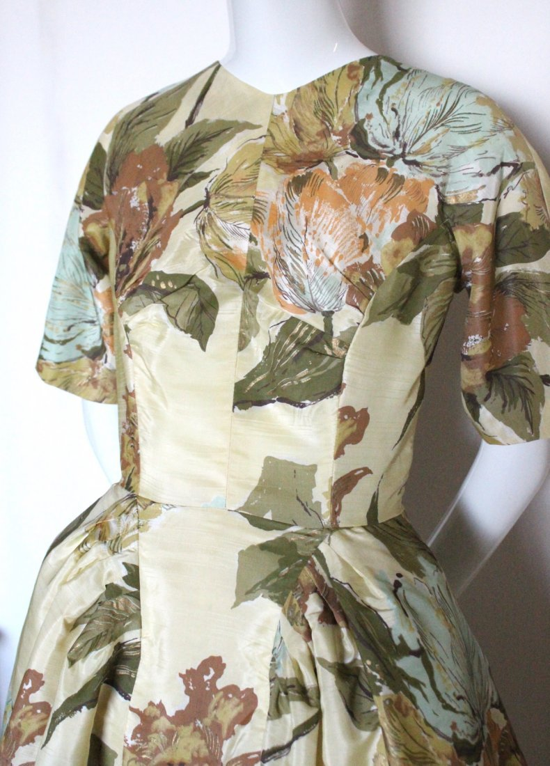 Schiaparelli Yellow Floral Printed Fabric Dress, 1950's - 2