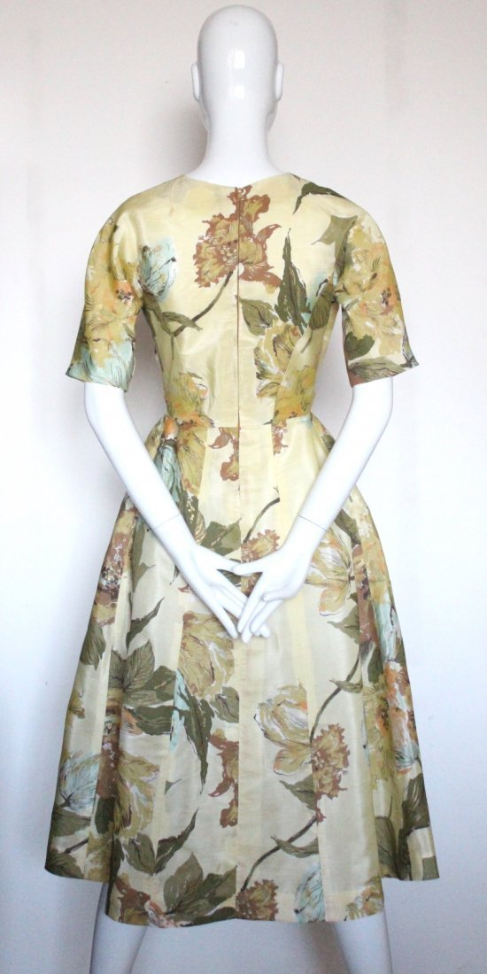 Schiaparelli Yellow Floral Printed Fabric Dress, 1950's - 3