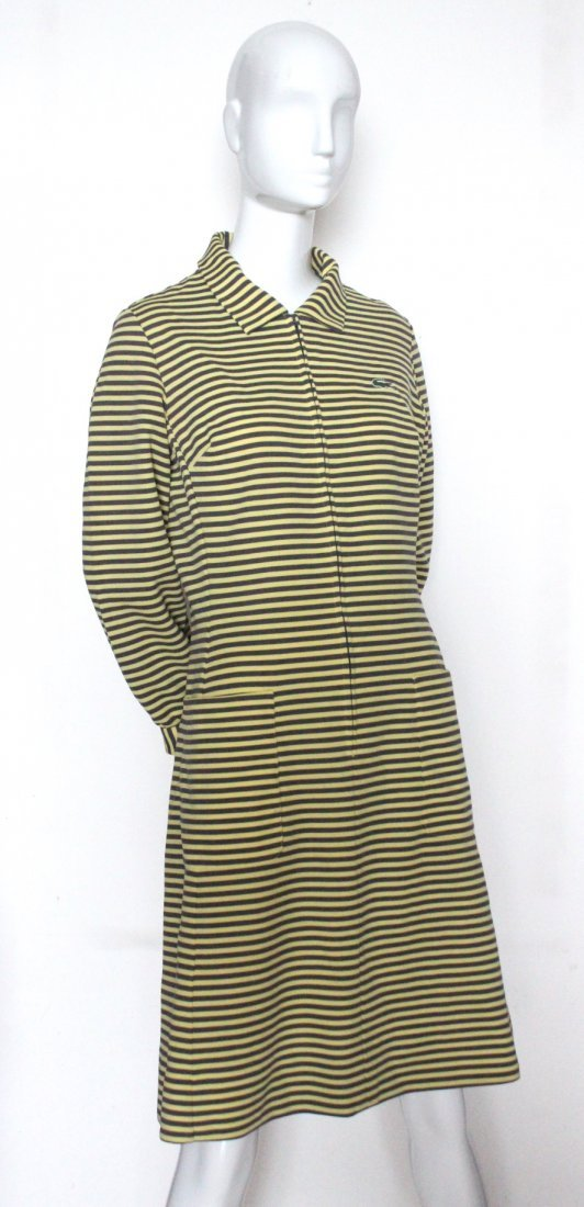Lacoste Yellow & Brown Striped Jersey Dress, c.1970's