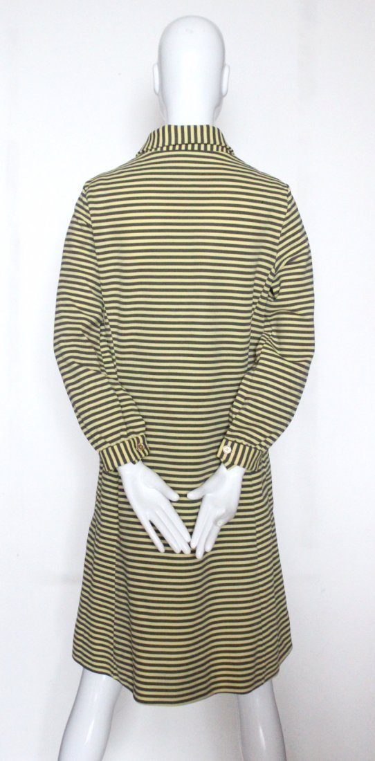 Lacoste Yellow & Brown Striped Jersey Dress, c.1970's - 3