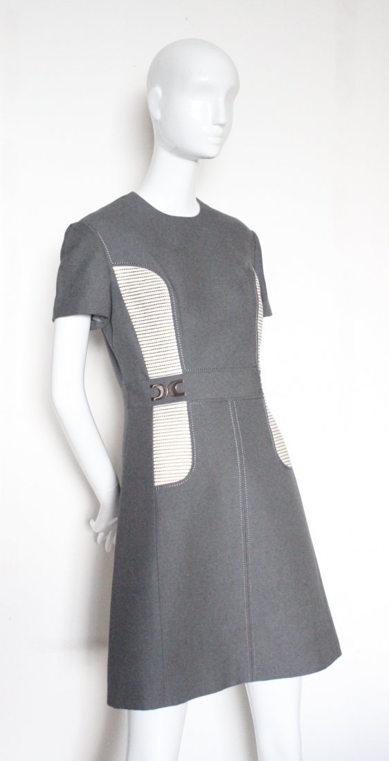 Louis Feraud Paris New York Gray Wool Mod Dress, 1960's
