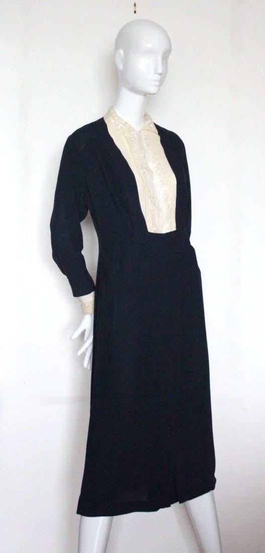 Rare 'La Garconne' Style Lace & Crepe Dress, c.1932