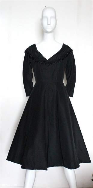 Saks Fifth Avenue Black Silk Cocktail Dress, 1950's