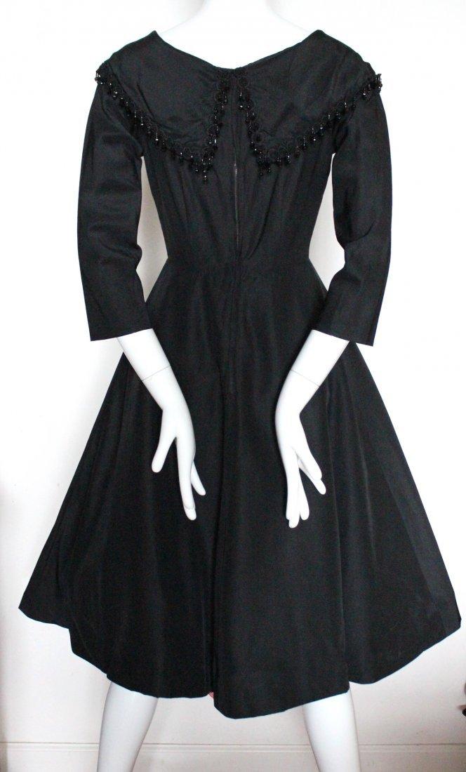 Saks Fifth Avenue Black Silk Cocktail Dress, 1950's - 3