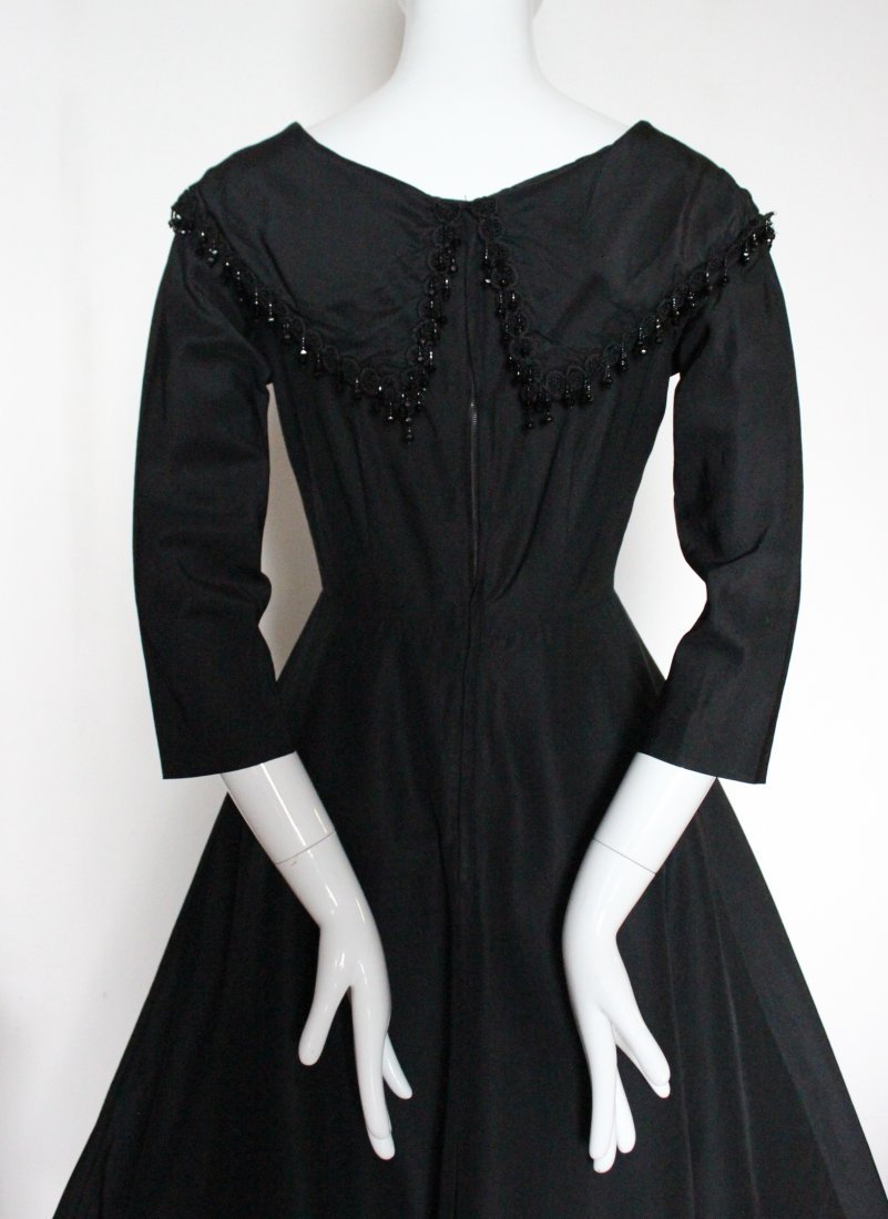 Saks Fifth Avenue Black Silk Cocktail Dress, 1950's - 4