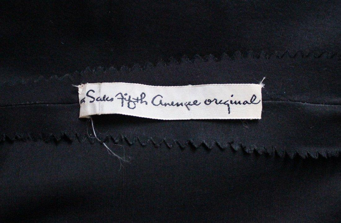 Saks Fifth Avenue Black Silk Cocktail Dress, 1950's - 5