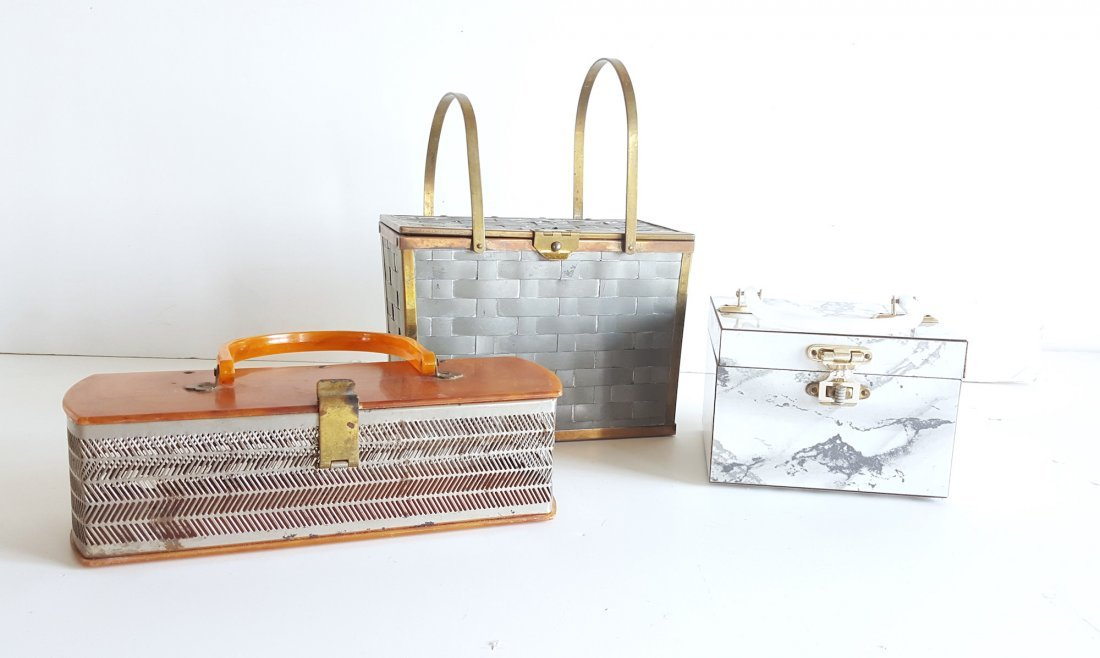 Group of 3 Hardshell Box Bags, ca. 1940's-1960's