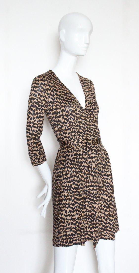 Diane Von Fursterberg Brown Print Jersey Wrap Dress
