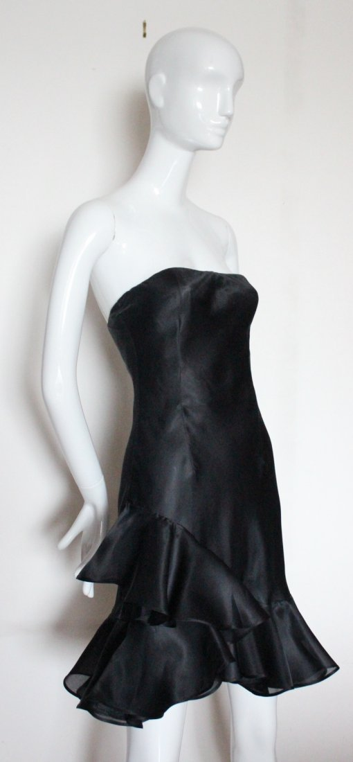 Givenchy By John Galliano Black Silk Gazar Dress 1996
