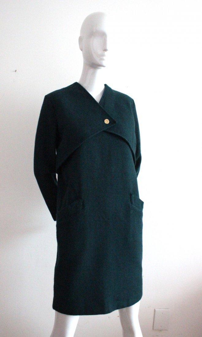 Creation Pierre Cardin Green Wool Dress, c.1970's