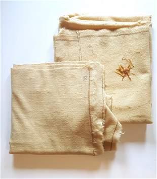2 1800's Homespun Natural Wool Blankets