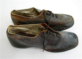 Late 19th C. Brown Leather Lady's Shoes