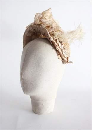 Victorian Ivory Lace Bonnet Hat with Ostrich Trim, 19th