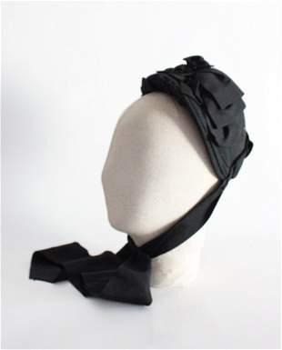 Victorian Black Bonnet Hat with Grosgrain Trim, 19th c.