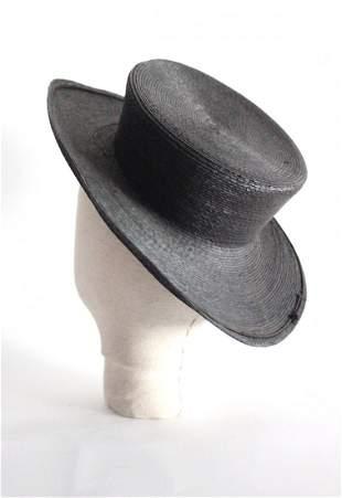ca. 1890's Black Straw Boater Hat